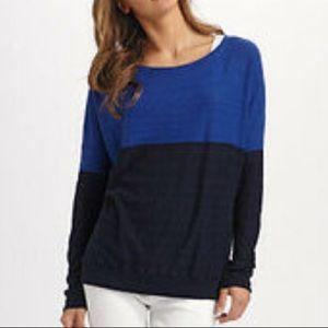 Vince blue colour block long sleeve knit top